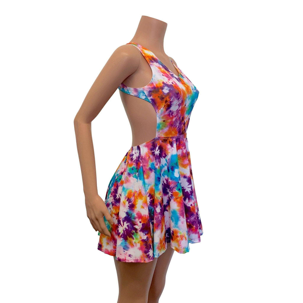 Cutout Skater Dress - Tie Dye Blitz - Peridot Clothing
