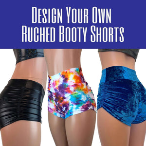 DESIGN YOUR OWN Ruched Booty Shorts - CHOOSE your RISE - Peridot Clothing