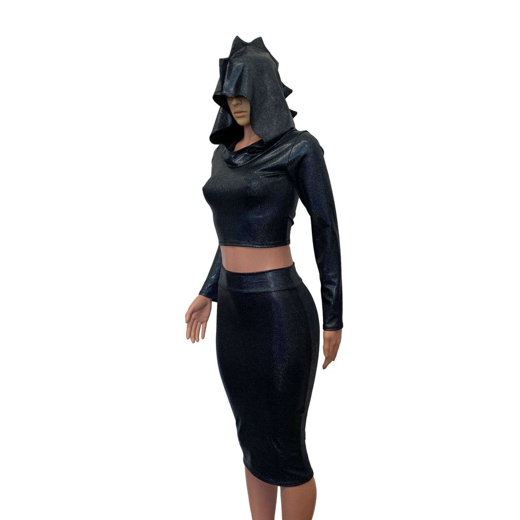 Dragon Costume - Black Holographic Hoodie & Skirt - Peridot Clothing