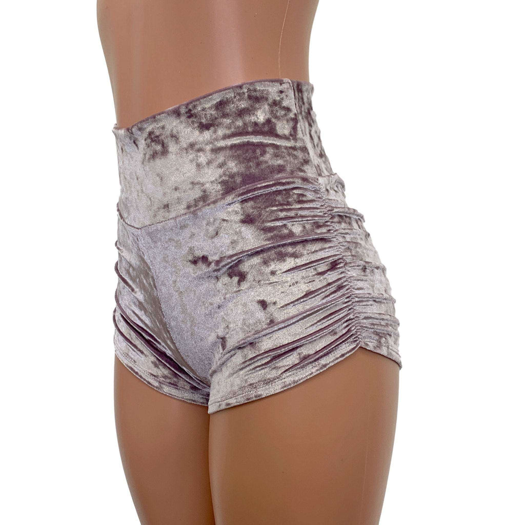 Dusty Lilac Crushed Velvet Ruched Booty Shorts, women's shorts