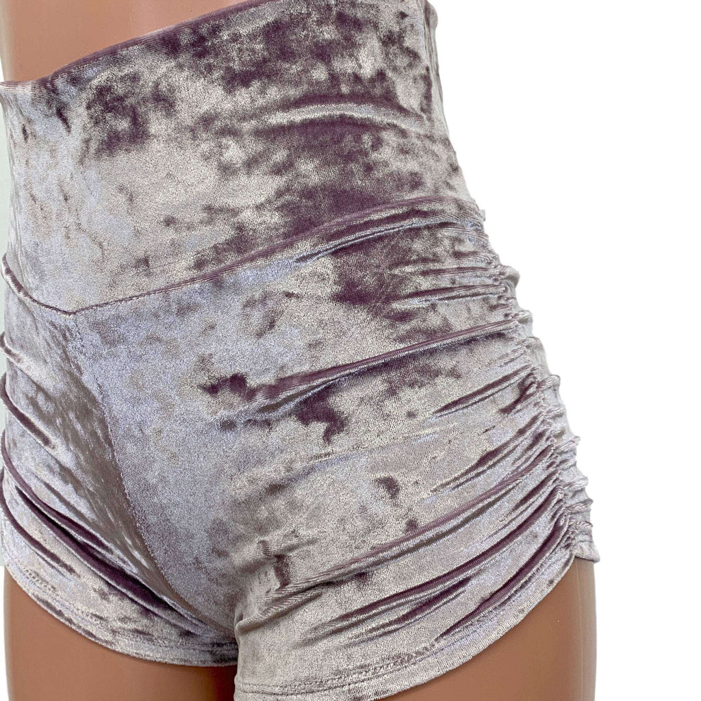 Dusty Lilac Crushed Velvet Ruched Booty Shorts - Peridot Clothing