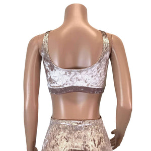 Dusty Pink Crushed Velvet Bralette - Peridot Clothing