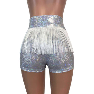 Fringe High Waisted Booty Shorts - Silver Shattered Glass - Peridot Clothing