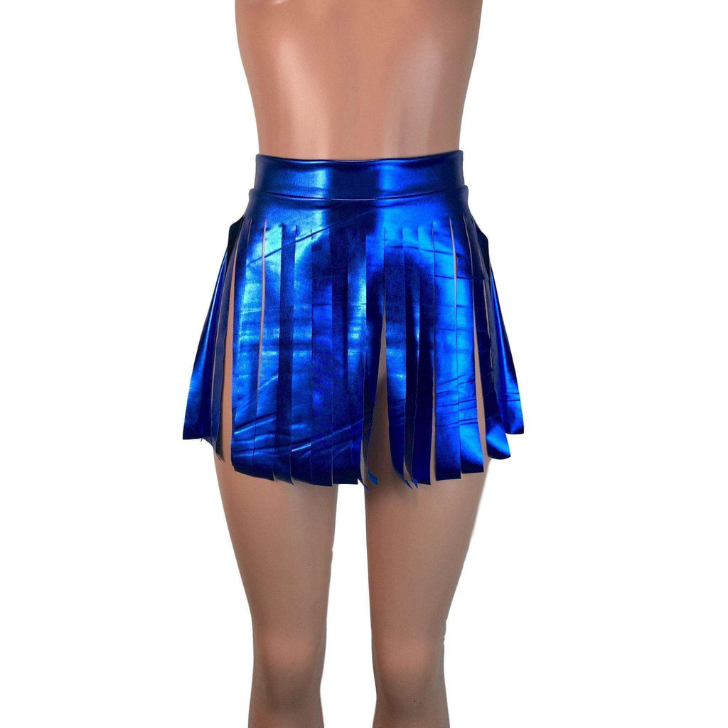 Fringe Skirt - Blue Metallic - Peridot Clothing