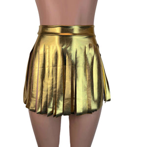 Fringe Skirt - Gold Metallic - Peridot Clothing