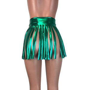 Fringe Skirt - Green Metallic, skirts