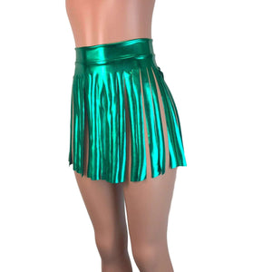 Fringe Skirt - Green Metallic - Peridot Clothing