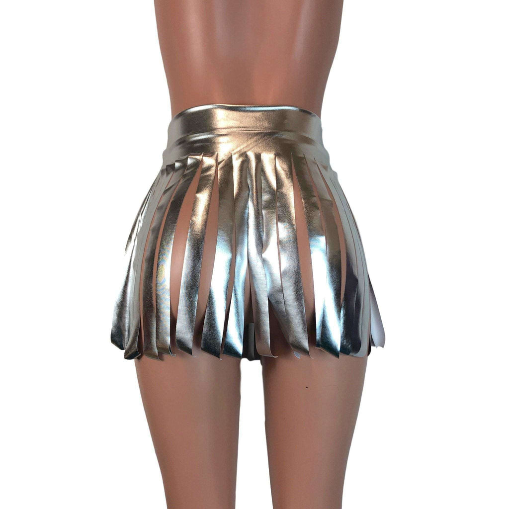 Fringe Skirt - Silver Metallic - Peridot Clothing