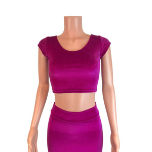 Fuchsia Pink Velvet Morticia Outfit - Mermaid Long Fit n Flare Skirt and Cap Sleeve Crop Top - Peridot Clothing