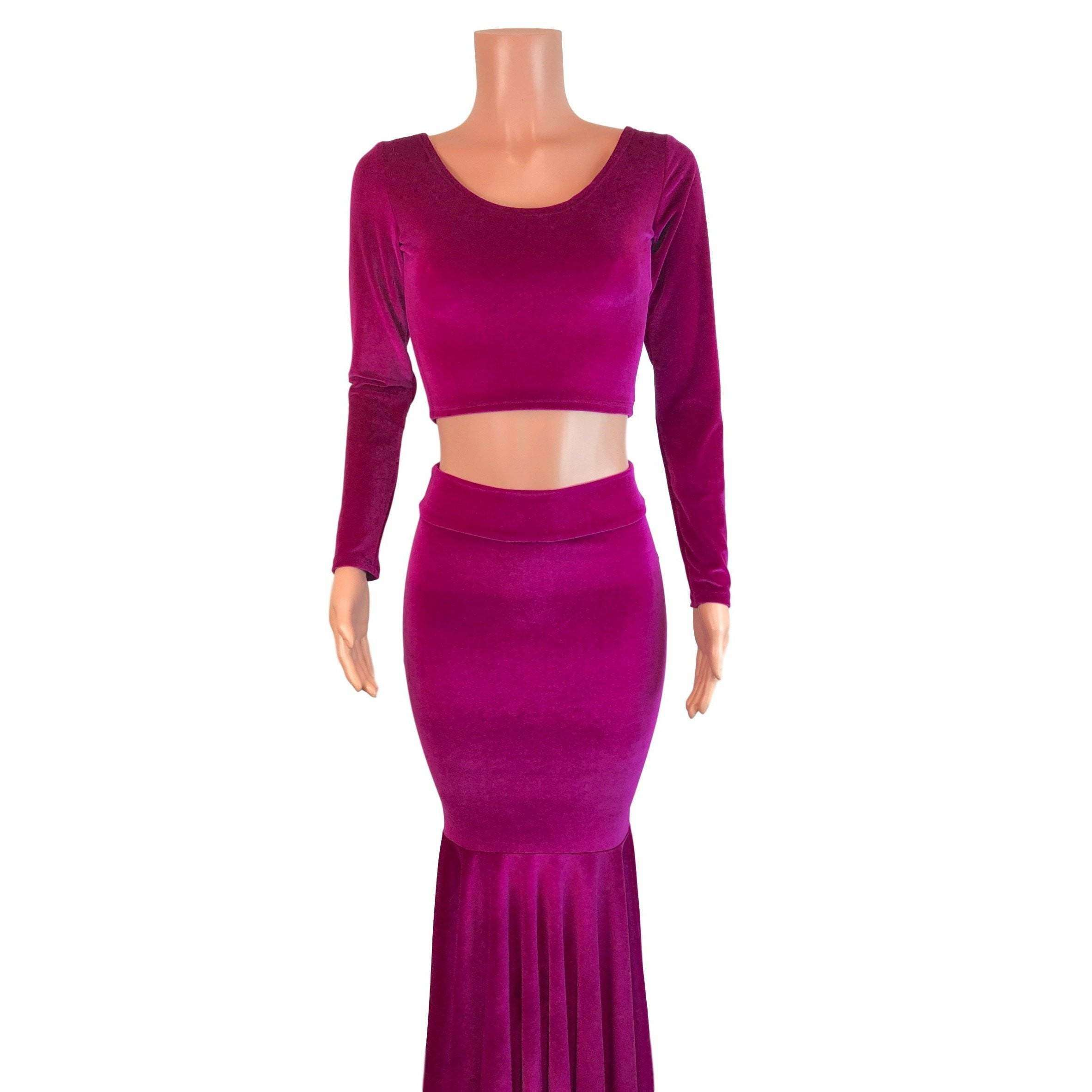 Fuchsia Pink Velvet Morticia Outfit Mermaid Long Fit N Flare Skirt A Peridot Clothing