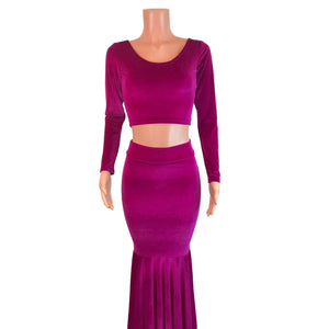 Fuchsia Pink Velvet Morticia Outfit - Mermaid Long Fit n Flare Skirt and Long Sleeve Crop Top - Peridot Clothing