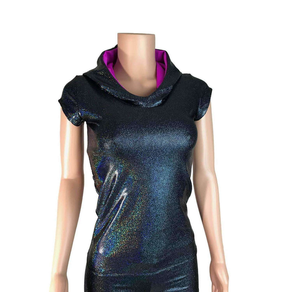 SALE - MEDIUMFull Length Cap Sleeve Hoodie Top - Peridot Clothing