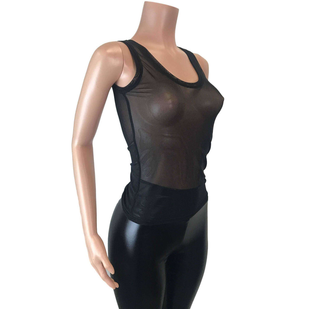 Full Length Tank Top - Black Mesh - Peridot Clothing