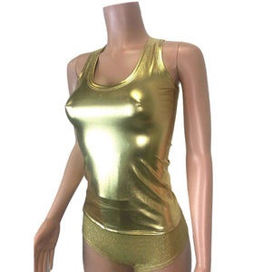 Full Length Tank Top - Gold Metallic - Peridot Clothing