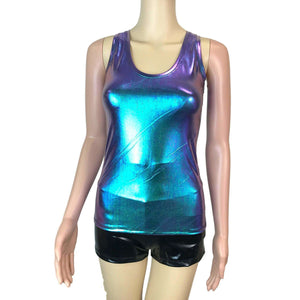 Full Length Tank Top - Oil Slick Holographic - Peridot Clothing
