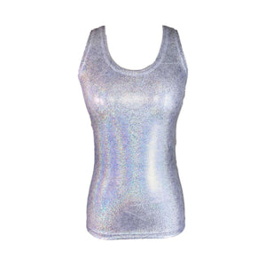 Full Length Tank Top - Silver Holographic - Peridot Clothing