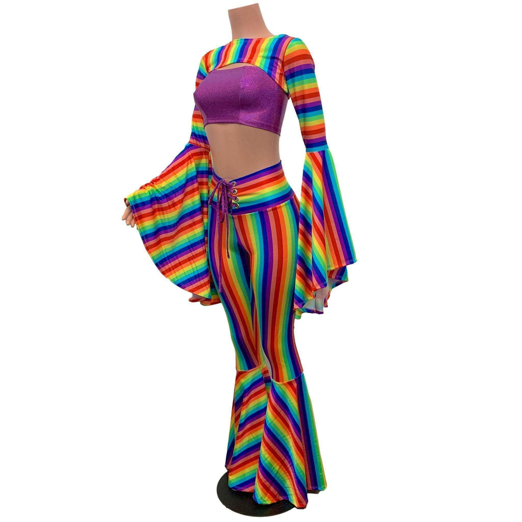 Full of Pride Outfit - Rainbow Stripe Pride Costume w/ Bell Bottoms and Bell Sleeve Bolero - Peridot Clothing