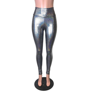 Gleaming Silver on Black High Waist Leggings Pants - Peridot Clothing