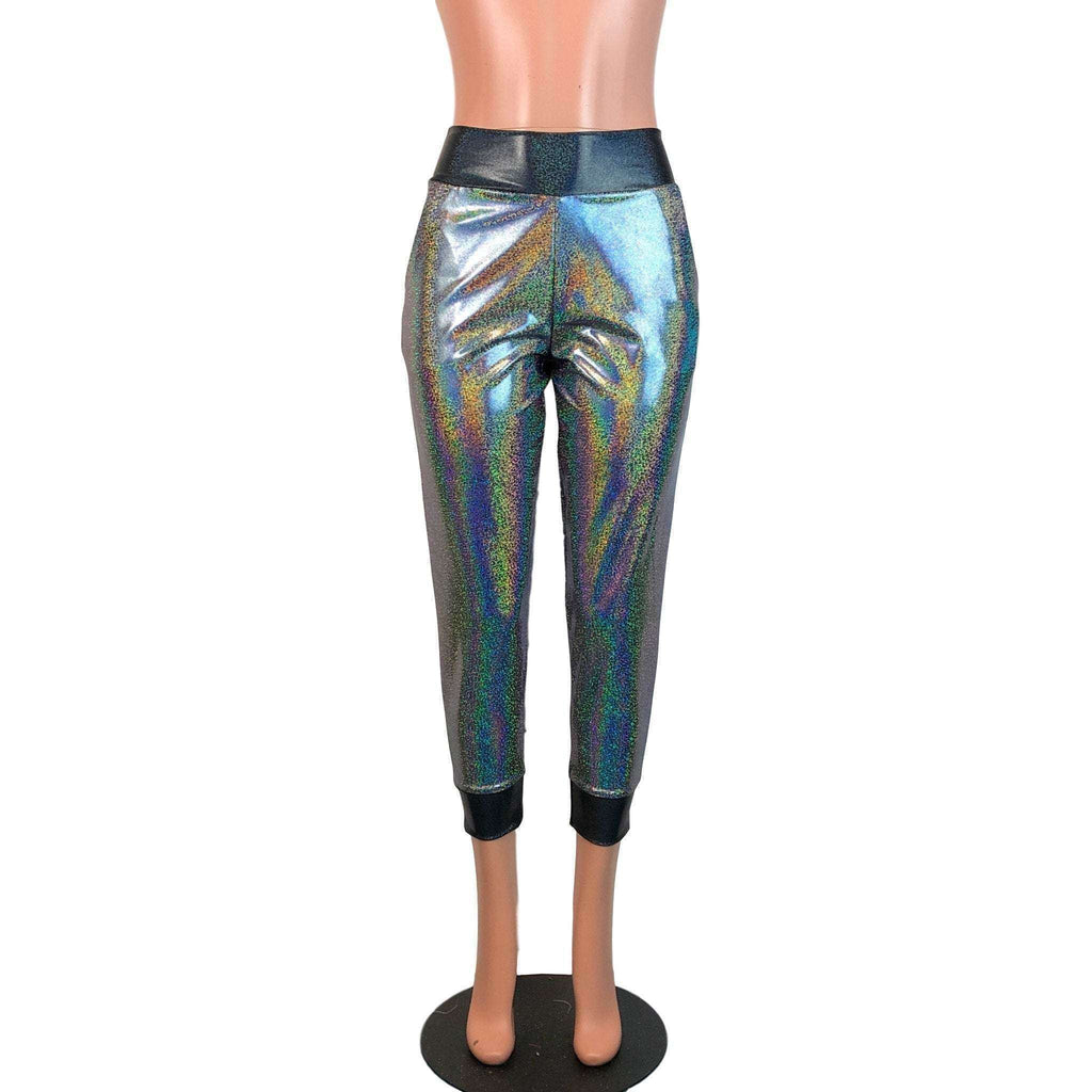 Gleaming Silver W/ Black Holograph Joggers w/ Pockets - Peridot Clothing