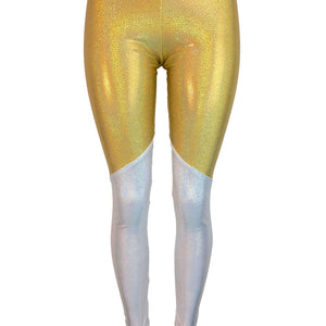 Gold and White Holographic Mystique *Mid-Rise* Leggings Pants - Peridot Clothing