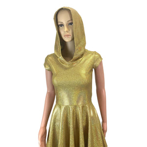 Gold Holographic Cap Sleeve Hoodie Skater Dress - Peridot Clothing