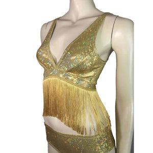 Gold Holographic Fringe Bralette, women's tops