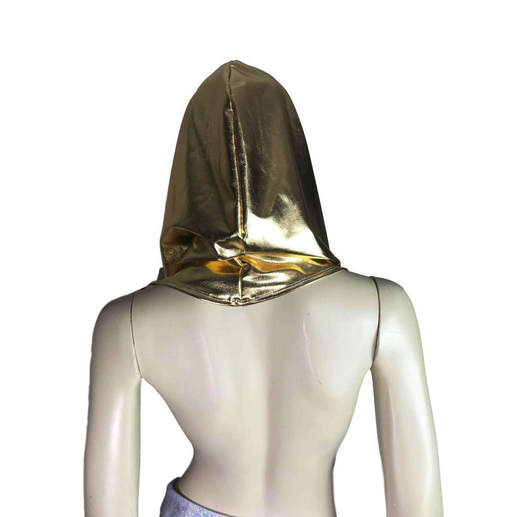 Gold Metallic Rave Hood - Peridot Clothing