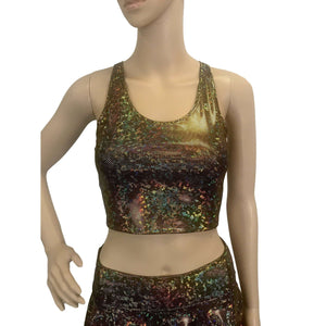 Gold on Black Holographic Rave Outfit - Peridot Clothing