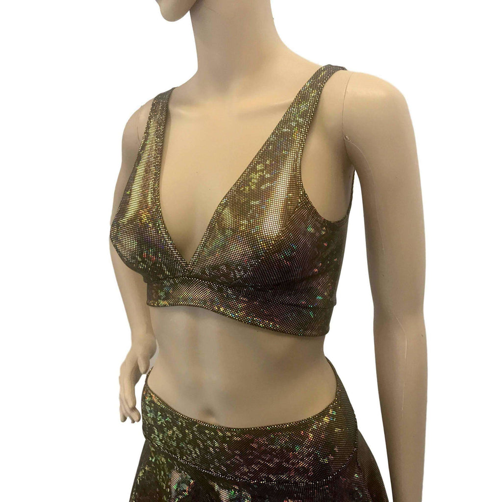 Gold on Black Shattered Glass Holographic Bralette - Peridot Clothing