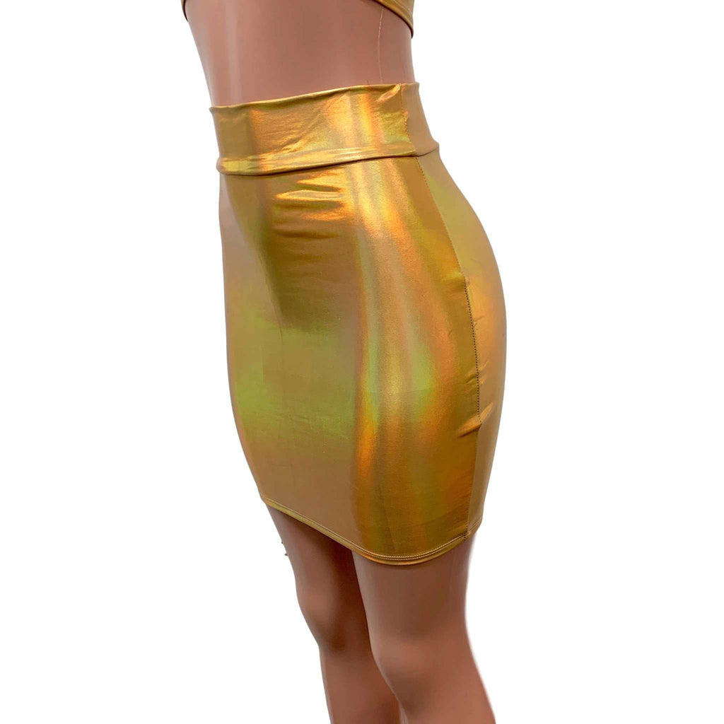 Gold Opal Holographic High Waisted Pencil Mini Skirt - Peridot Clothing