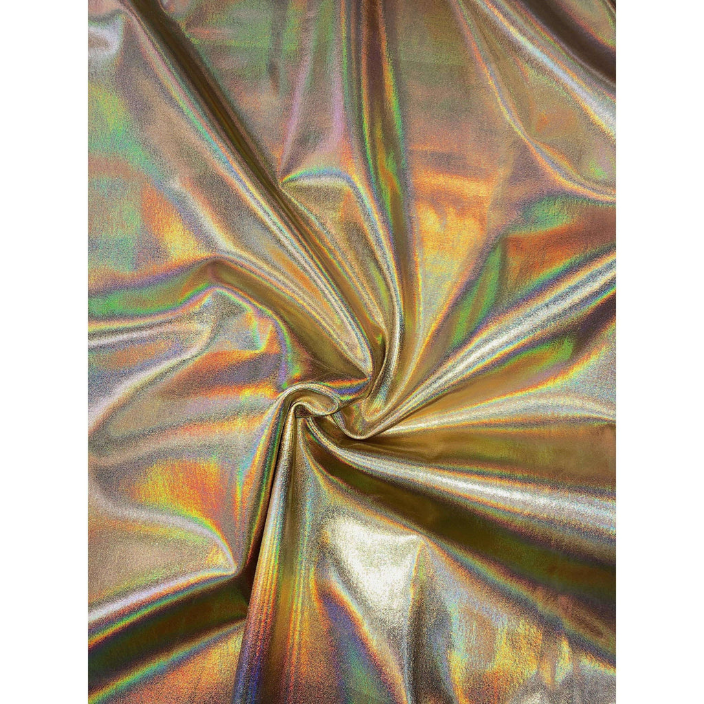 Gold Opal Holographic Nylon Spandex Fabric by-the-yard - Peridot Clothing