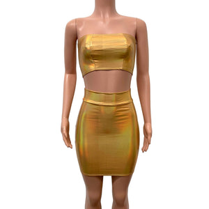 Gold Opal Iridescent Holographic Rave Outfit Skirt/Bandeau - Peridot Clothing