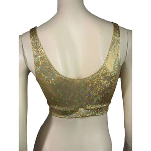 Gold Shattered Glass Holographic Bralette - Peridot Clothing