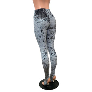 Gray Crushed Velvet Stirrup Leggings - Peridot Clothing