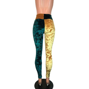 *Sample - Green & Gold Sports Team Crushed Velvet High Waist Leggings Pants - Final Sale - Peridot Clothing