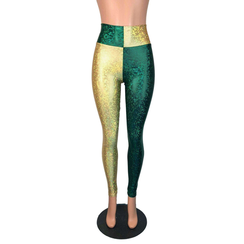 *Sample - Green & Gold Sports Team Holographic High Waist Leggings Pants - Final Sale - Peridot Clothing