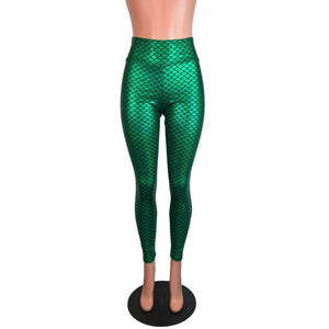 Green Mermaid Scale Holographic High Waisted Leggings Pants - Peridot Clothing