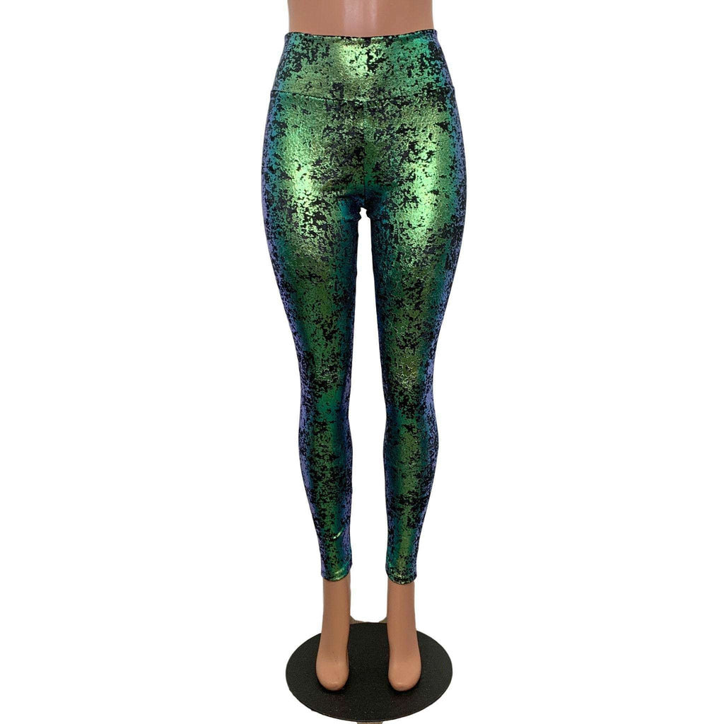 Green on Black Gilded Velvet High Waisted Leggings Pants - Peridot Clothing