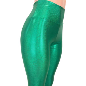 Green Sparkle High Waisted Leggings Pants - Peridot Clothing