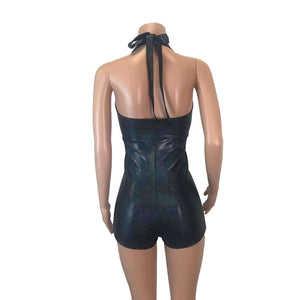 Halter Romper - Black Holographic - Peridot Clothing