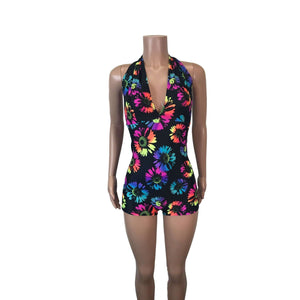 Halter Romper - Electric Daisy Neon - Peridot Clothing