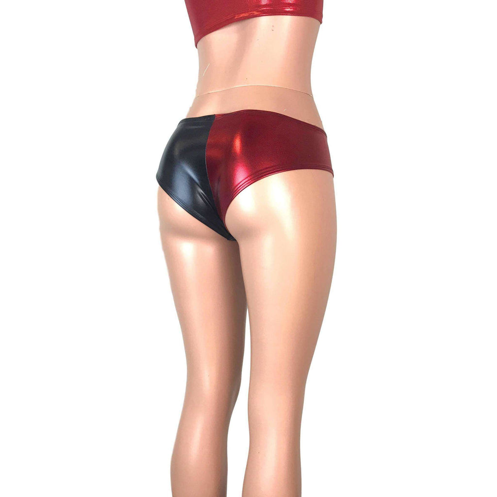 Harley Quinn Black/Red Metallic Cheeky - Peridot Clothing