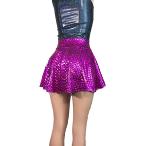 Hi-Lo Skater Skirt - Pink Mermaid Scales - Final Sale SMALL - Peridot Clothing