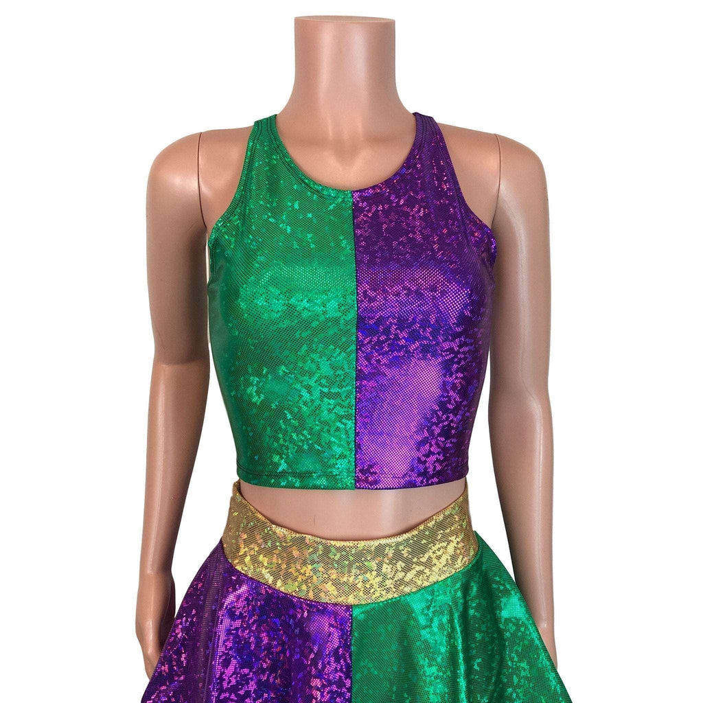 High Neck Crop Tank Top - Mardi Gras Purple & Green - Peridot Clothing