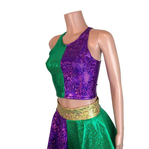High Neck Crop Tank Top - Mardi Gras Purple & Green, women's tops