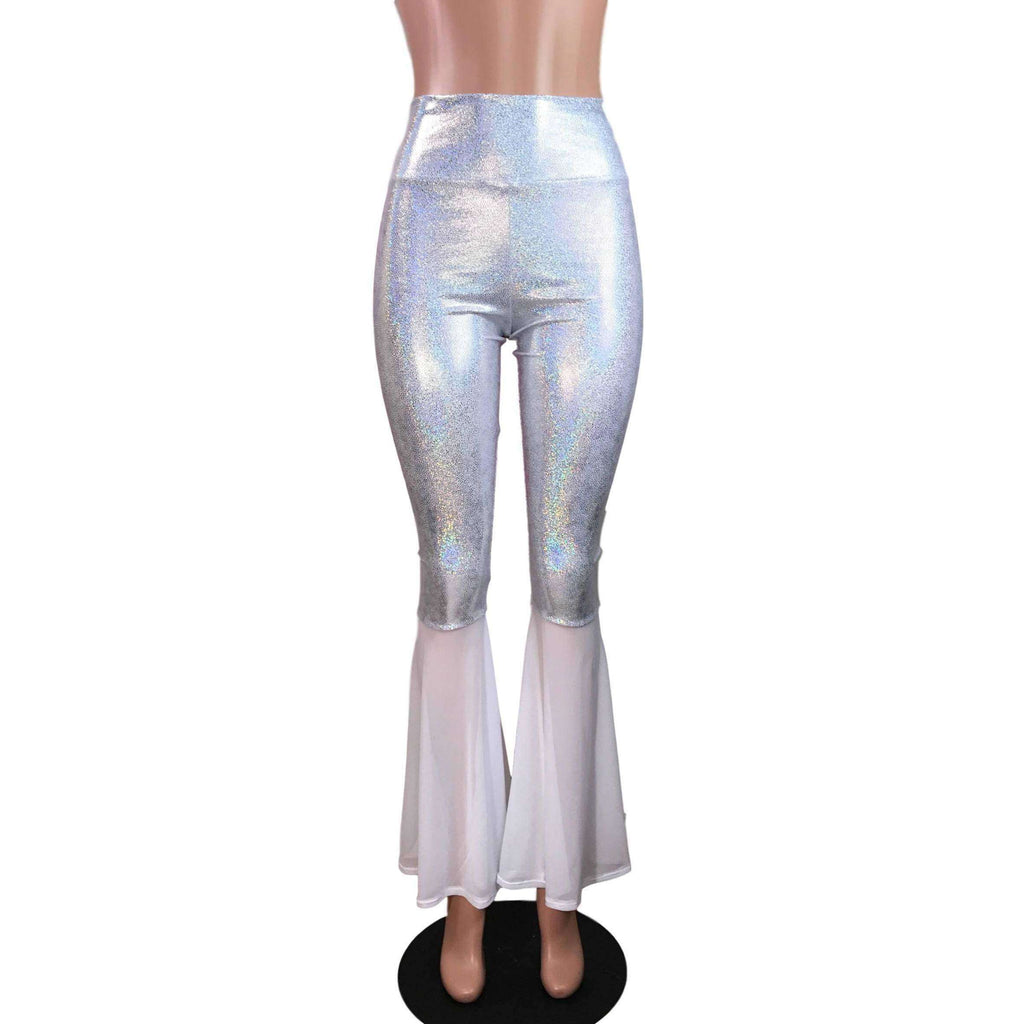 White Holographic Bell Bottoms w/ White Mesh Flares - Peridot Clothing