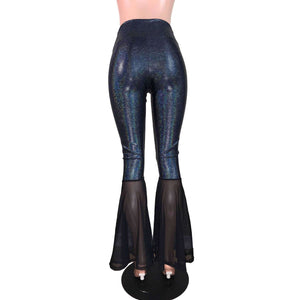 High Waist Bell Bottoms - Black Holographic & Black Mesh - Peridot Clothing