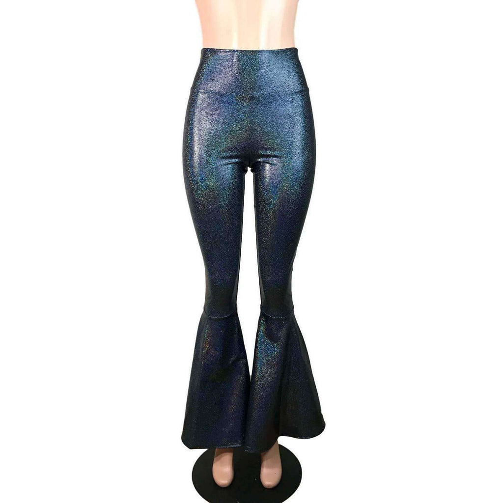 High Waist Bell Bottoms - Black Holographic - Peridot Clothing
