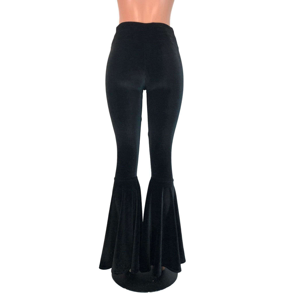 High Waist Bell Bottoms - Black Velvet - Peridot Clothing