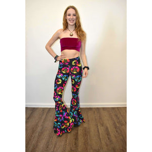High Waist Bell Bottoms - Electric Daisy Neon - Peridot Clothing